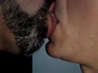 Passionate kiss. Handjob and naked milf