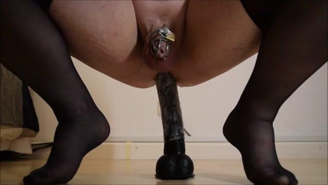 Crossdresser rides Dildo anal Lick my running shoes clean bitch