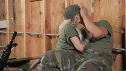 Army couple after the war Big tits and blowjob