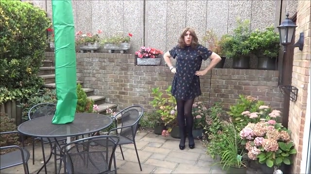 Sexy Crossdresser Alison playinging in the garden I slept with my bosses wife