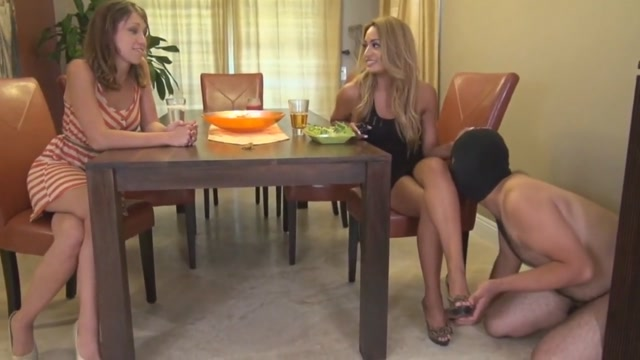 2 mistresses using there chasted slave Nude yellow handjob penis slowly