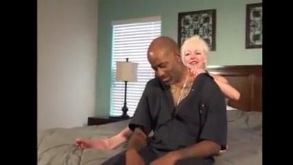 Blonde granny plays with black grandpa Old Man Nipple