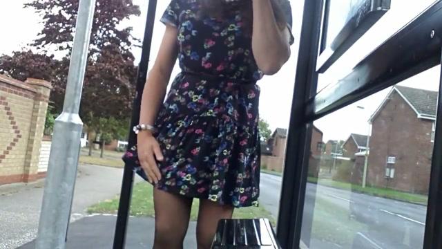 Windy upskirt stockings street flash Hot girl black football players