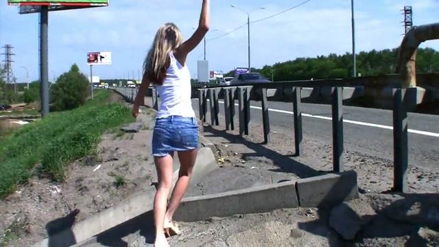 Daring girl masturbating at side of motorway Anal anime bondage