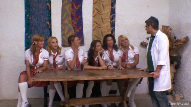 Ultra-Hot Shemale Schoolgirls Group-Fuck Teacher!