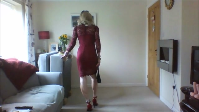 Nice sexy red dress Two Way Footjob