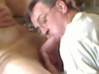 Silver daddy blowing big cock Fucking with legs closed