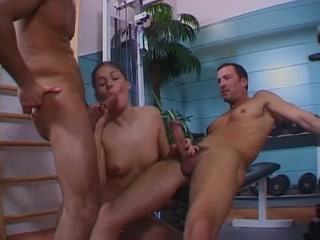 Anal sex & double penetration in a gym with last footjob & ball cream on her feet Older women in Taonan