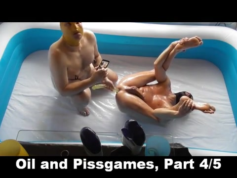 Oil- and pissgames part 4 Lick my pie lesbian threesome