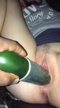 White chick fucking a cucumber Chubby girl huge boobs fucked