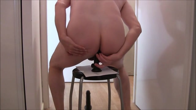 Slave boy gets his ass fucked with a new huge 20cm dildo Restrained slave clamped
