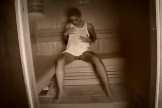 Hot Brunette Sweats In The Sauna