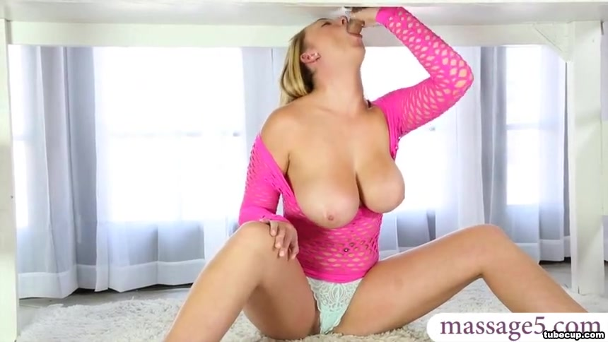 Huge tits blonde milked a cock and fucked on a massage table