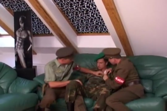 Army threesome Teen girls pant tearing ass