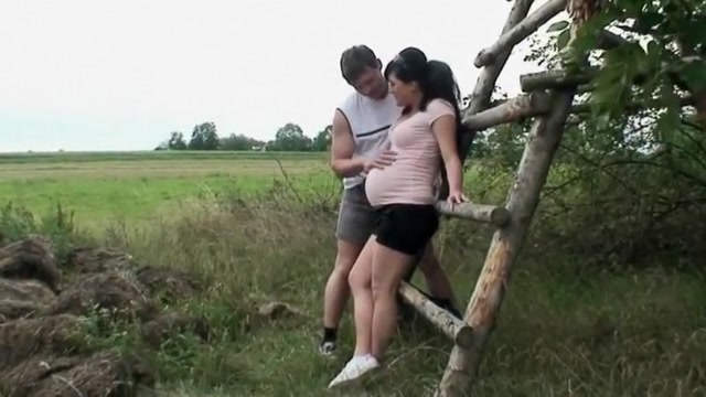 Busty Prego Amateur college girl has hot outdoor Sex Sending flowers during a break