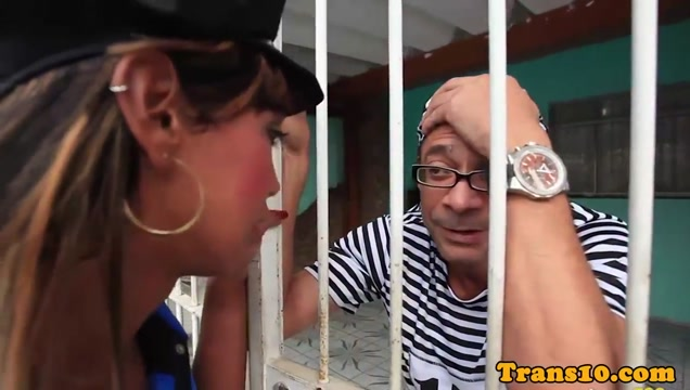 Ts policewoman riding a convicts hard cock getting your pussy pierced
