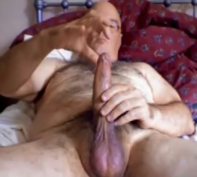 Hot daddy bear with stroking his long dick Ass drilling cum face