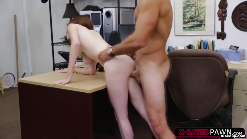 Geeky girl gets deceived at pawnshop guy into a hardcore action at the office