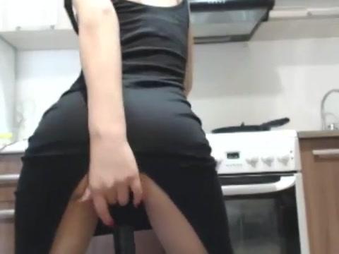 Cam girl rides dildo in kitchen