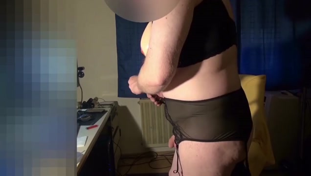 Fake Boobs - posing and fapping in full lingerie shaved body Big gay white men sucking black cock