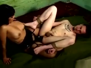 Ruthless Dominatrix Pegging Her Slave booty shaking in tight shorts