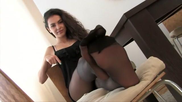 Beautiful Model in Black Pantyhose