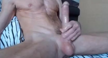 Stroking big long hard shaved cock and balls Bbw in bathtub