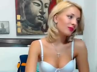 Blonde in blue lingerie on the web web camera