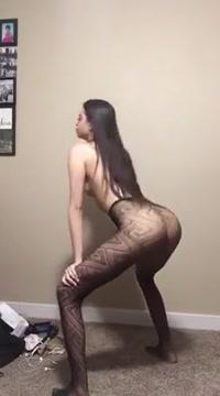 skinny brunette twerking in just her tights pantyhose