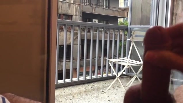 PISSING MY SELF PLAYING WITH MY COCK AND HOLE PUBLIC BALCONY Blonde mature titties