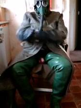 Green rubber Brunette bbw pussy