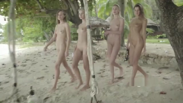 YOUNG PUSSY ON THE BEACH PMV Naked girls in camoflauge