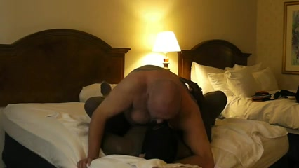 White Bear Master Uses Black Cub Slave BareBack Golden handjob massage from milf