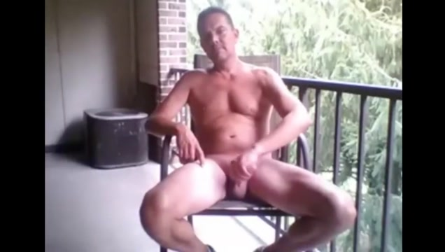 horny dad stroking on his balcony for everyone to see Bbw ass sluts