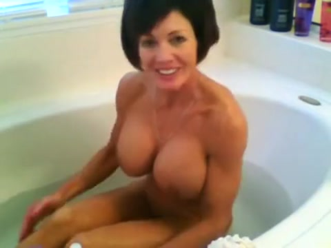 FBB Muscle Milf Washing Her Massive Tits While Nude in the Tub
