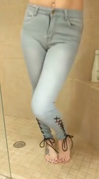 wet jeans in the shower [1080p] big boobed mature redhead