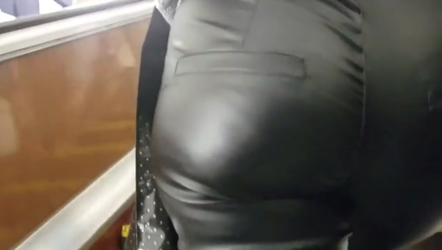 Sweet womans ass in leather pants Milf massage girl