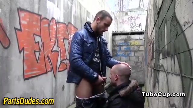 Euro dudes in alley way girl getting dick slapped