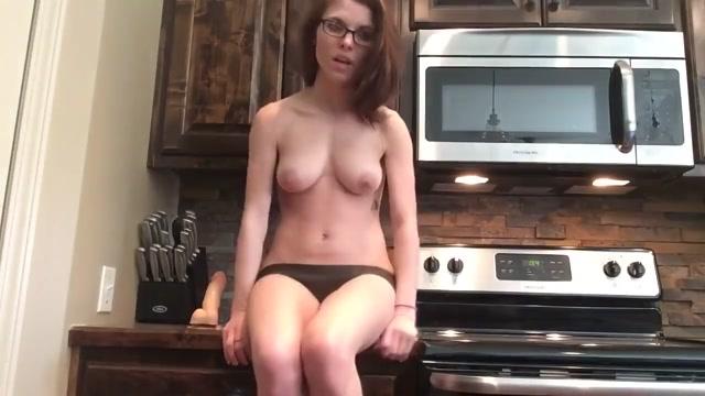 Babysitter with perky tits masturbate in my kitchen