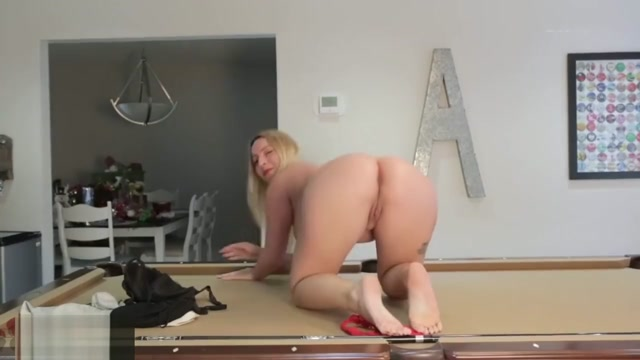 leyla on the pool table Masturbated by her Friend