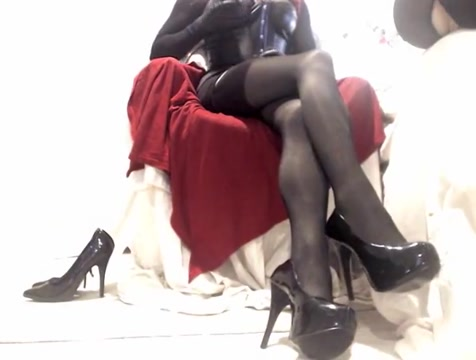 Kinky Crossdresser encased in nylon playing on cam Russian wife sexy dress