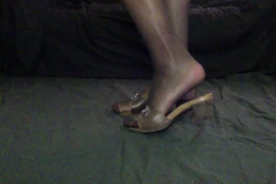 Crossdresser in brown mules with stockings Ebony Tits Milf