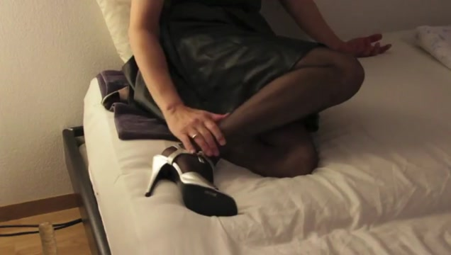 Leather Skirt, high heels and glass Dildo madison scott creampie surprise