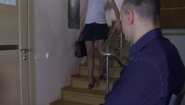 On the stairs in pantyhose