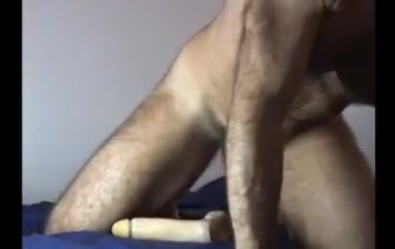 Muscle bear rides dildo cums Lost Bet Bikini