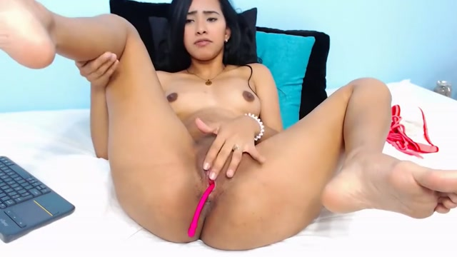 Young Sexy Columbian pleasing her master Naked girl taking monster dildo