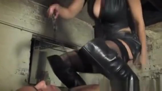 Bdsm Prodomme Uses Heels To Punish Subject Bbw big tits in change cabin