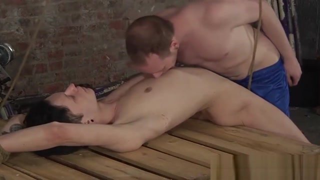 Young sub tormented with candle wax and fed with cock Men shaving balls to anus
