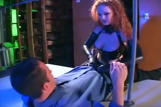 Redhead fucking in gloves and a latex uniform Exotic amateur Threesomes Lesbian porn clip