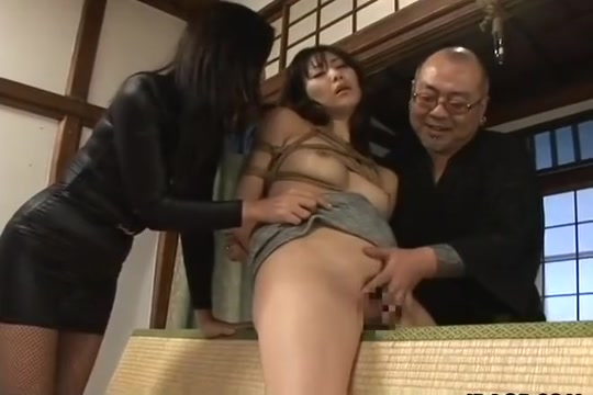 Tied up Asian babe gets spanked and dildo fucked Milf girls blowjob dick load cumm on face